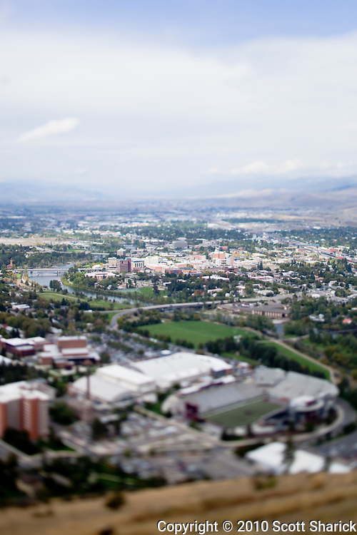 A view of Missoula Montana from a high vantage point. Taked with a tilt shoft lens to give a very shallow depth of field. Missoula Photographer, Missoula Photographers, Montana Pictures, Montana Photos, Photos of Montana