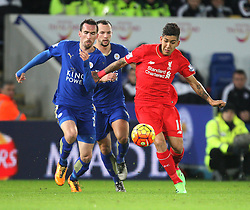 Christian Fuchs of Leicester City (L) and Roberto Firmino of Liverpool in action - Mandatory byline: Jack Phillips/JMP - 02/02/2016 - FOOTBALL - King Power Stadium - Leicester, England - Leicester City v Liverpool - Barclays Premier League