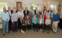 """Laconia High School's Class of 1943 at the Laconia Country Club Thursday afternoon. Back Row (l-r) Roger McGrath, Leopold Bourgault, Arnold Goss, Wesley Noyes, John Richardson, Royce Crimmins, Paul Morin, Kenneth Nutter and William Wilkinson.  Middle Row (l-r) Rita """"Smart"""" Mayo, Aileen """"Lacasse"""" McLetchie, Roger Paquette, Alice Boutin, Angeline """"Cyr"""" LaRose, Rosemary """"Jackson"""" Woodman and Melvin Reever.  Front Row (l-r)  Jacqueline """"Smith"""" Brasley, Mary """"Stefan"""" Currier, Olive """"Smith"""" Haddock, Ethelyn """"Jones"""" Nutter and Noella """"Walker"""" Maheux.    (Karen Bobotas/for the Laconia Daily Sun)"""