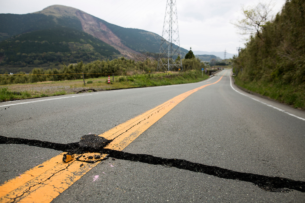KUMAMOTO, JAPAN - APRIL 18: A crack road on the way to Minamiaso town is seen on April 18, 2016 in Minamiaso, Kumamoto, Japan. At least 42 people have died and 11 still missing.<br /> <br /> Photo: Richard Atrero de Guzman