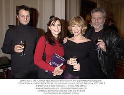 Left to right, MR JOHNNY YEO, MISS SHEBAH RONAY, her parents fashion designer EDINA RONAY and MR DICK POLAK, at a party in London on 18th February 2002.OXP 7