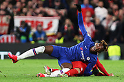 Chelsea forward Tammy Abraham is tackled during the Champions League match between Chelsea and Bayern Munich at Stamford Bridge, London, England on 25 February 2020.