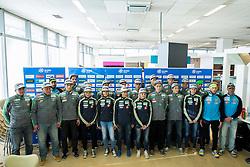 Team photo during press conference of Slovenian Nordic Ski Jumping team before new winter season 2015/16, on November 18, 2015 in Salon Gorenje, Ljubljana, Slovenia. Photo by Vid Ponikvar / Sportida