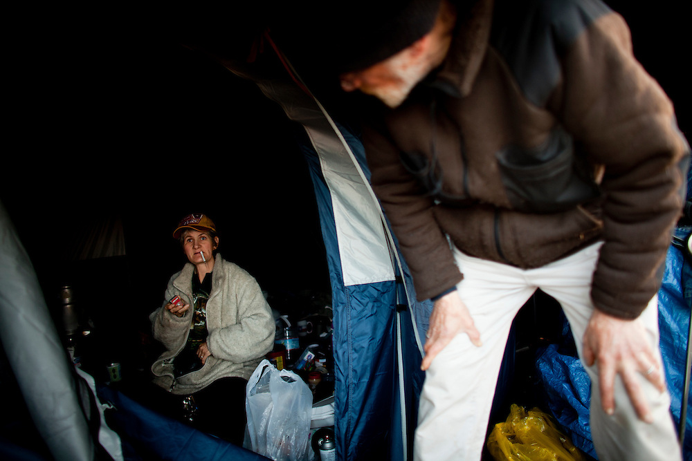 Evelyn Marrs-Benn, left, and George Benn in their tent at the SafeGround camp in Sacramento, Calif., January 13, 2011.