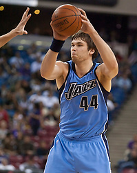 October 23, 2009; Sacramento, CA, USA;  Utah Jazz center Kyrylo Fesenko (44) during the fourth quarter against the Sacramento Kings at the ARCO Arena.  The Jazz won 95-85.