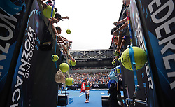MELBOURNE, Jan. 17, 2019  Kei Nishikori of Japan leaves the court during the men's second round match between Kei Nishikori of Japan and Ivo Karlovic of Croatia at the 2019 Australian Open in Melbourne, Australia, Jan. 17, 2019. (Credit Image: © Bai Xuefei/Xinhua via ZUMA Wire)