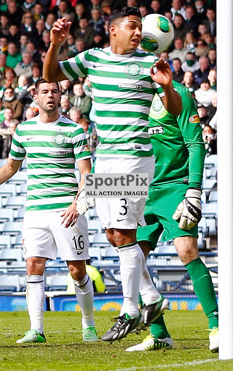 Dundee United v Celtic Scottish Cup Semi Final..Emilio Izaguirre heads the ball clear of the goal mouth.....(c) STEPHEN LAWSON | StockPix.eu