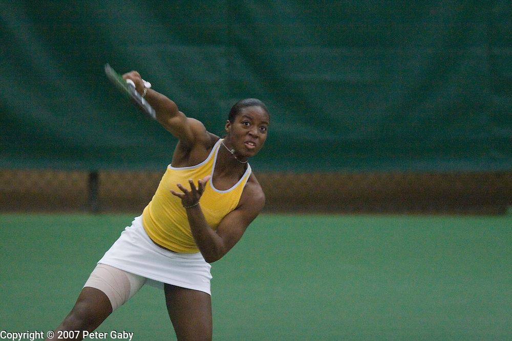 GA. Tech's Whitney McCray returns a volley during the 2007 USTA/ITA National Women's Team Indoor Championships at the Nielsen Tennis Stadium, Feb. 1st-4th hosted by the University of Wisconsin.