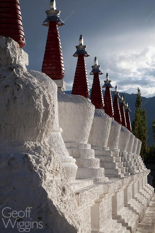 Buddhist Stupas at Thiksey Monastery, Ladakh, Northern India