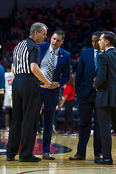 NORMAL, IL - December 07: Randy Heimerman discusses a call with Preston Spradlin and his assistants during a college basketball game between the ISU Redbirds and the Morehead State Eagles on December 07 2019 at Redbird Arena in Normal, IL. (Photo by Alan Look)