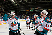 KELOWNA, CANADA - JANUARY 19: Mark Liwiski #9 an Kyle Topping #24 of the Kelowna Rockets celebrate the shootout win against the Prince Albert Raiders  on January 19, 2019 at Prospera Place in Kelowna, British Columbia, Canada.  (Photo by Marissa Baecker/Shoot the Breeze)