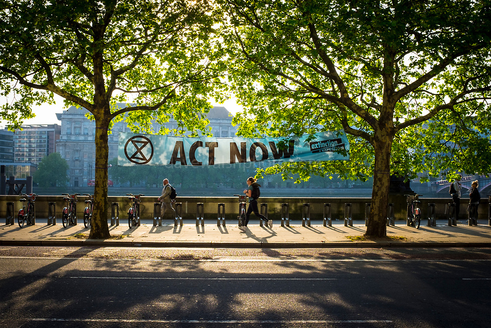 Extiniction Rebellion banner hanging on Albert Embankment, outside the headquarters of the International Maritime Organization, during MEPC74 - a meeting of the Marine Environment Protection Committee, May 15, 2019.