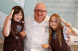 25/05/2013 .Pictured Katie Sheehan (11) and Ali Dodd (8) from Tyrrelstown cutting some cookies with Head Baker Fabrice Hergaux at the grand opening of the Butler's Pantry's shop in Castleknock making it their TENTH shop in Dublin and Wicklow. The Butler's Pantry is promising the very best of Irish artisan ingredients in each dish, which will be cooked using authentic Irish cooking methods and the best of classic Irish kitchen traditions in their Bray kitchens. Picture Andres Poveda..For further information please contact Ann-Marie Sheehan, Aspire PR, T : 0872985569 E : annmarie@aspire-pr.com .
