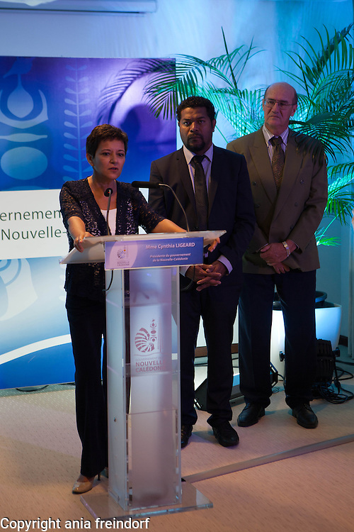 President of the Government of New Caledonia Cynthia Ligeard, (right)  Anthony Lecren, Minister of Sustainable Development,