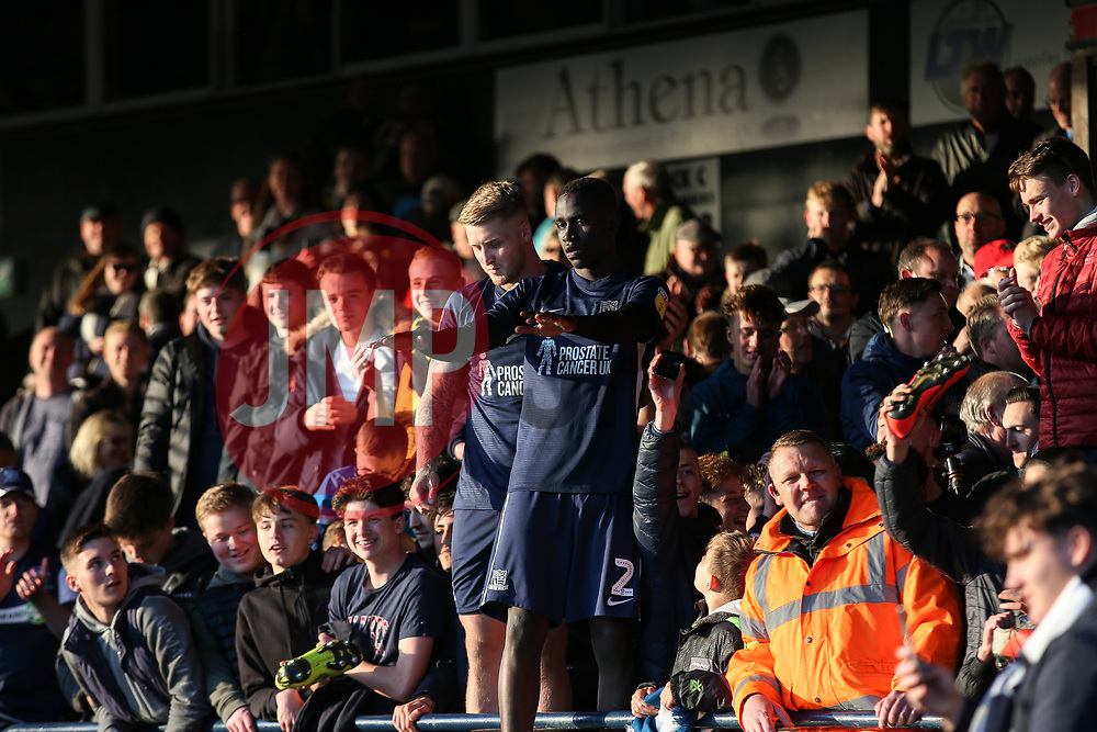 Elvis Bwomono and Stephen Humphrys of Southend United celebrate survival with the fans - Mandatory by-line: Arron Gent/JMP - 04/05/2019 - FOOTBALL - Roots Hall - Southend-on-Sea, England - Southend United v Sunderland - Sky Bet League One
