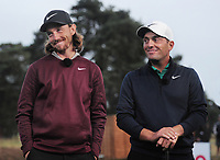 Golf - 2018 Sky Sports British Masters - Thursday, First Round<br /> <br /> Francesco Molinari of Italy and Tommy Fleetwood of England together after their first round, at Walton Heath Golf Club.<br /> <br /> COLORSPORT/ANDREW COWIE