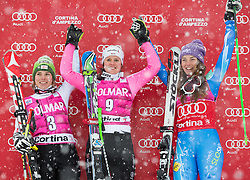 20.01.2013, Olympia delle Tofane, Cortina d Ampezzo, ITA, FIS Weltcup Ski Alpin, Super G, Damen, Podium, im Bild v.l.n.r. Nicole Schmidhofer (AUT, Platz 2), Viktoria Rebensburg (GER, Platz 1) und Tina Maze (SLO, Platz 3) // f.l.t.r. 2nd place Nicole Schmidhofer of Austria, 1st place Viktoria Rebensburg of Germany and 3th place Tina Maze of Slovenia  celebrate on podium during ladies Super G of the FIS Ski Alpine World Cup at the Olympia delle Tofane course, Cortina d Ampezzo, Italy on 2013/01/20. EXPA Pictures © 2013, PhotoCredit: EXPA/ Johann Groder