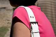 close up of woman with a shoulder bag