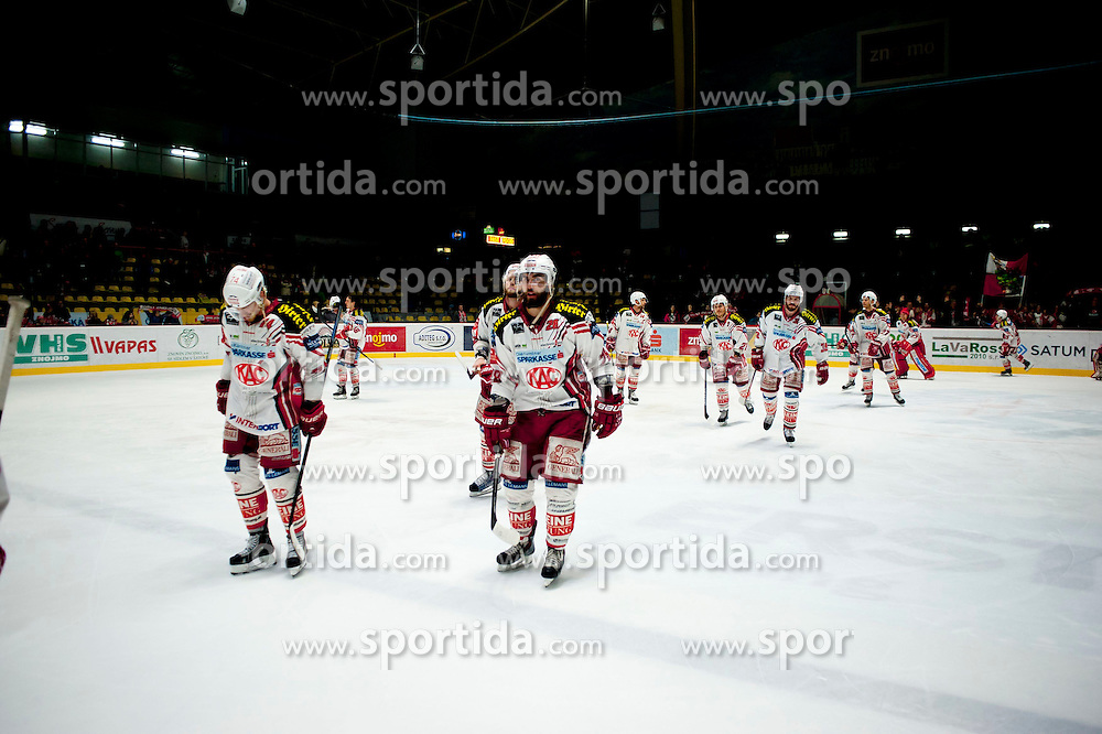 15.03.2015, Ice Rink, Znojmo, CZE, EBEL, HC Orli Znojmo vs EC KAC, 59. Runde, 5. Viertelfinale, im Bild die Spieler des EC KAC jubeln zu den Fans // during the Erste Bank Icehockey League 59th round match, 5th quarterfinal between HC Orli Znojmo and EC KAC at the Ice Rink in Znojmo, Czech Republic on 2015/03/15. EXPA Pictures © 2015, PhotoCredit: EXPA/ Rostislav Pfeffer