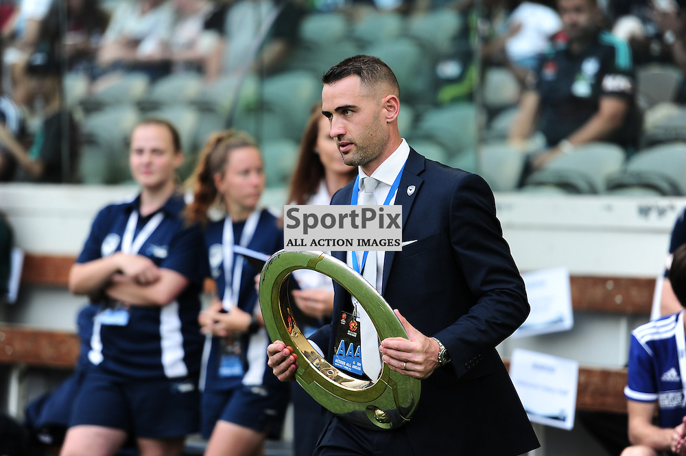Carl Valeri entering the stadium with one of the Victory premier cups before the Hyundai A-League (Australia Game) - January 26th 2016 - RD16 - Melbourne Victory FC v Sydney FC at Etihad Stadium, Docklands, Melbourne, Australia in a 1:0 win to Victory - © Mark Avellino | SportPix.org.uk