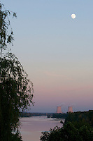 Sunset on River with Loire Belleville sur Loire nuclear power station cooling towers in distance ..., Travel, lifestyle