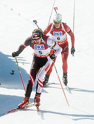 LANDERTINGER Dominik of Austria and BJOERNDALEN Ole Einar of Norway during Men 12.5 km Pursuit competition of the e.on IBU Biathlon World Cup on Saturday, March 8, 2014 in Pokljuka, Slovenia. Photo by Vid Ponikvar / Sportida