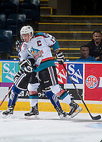 KELOWNA, CANADA - SEPTEMBER 3: Rodney Southam #17 of Kelowna Rockets checks a player of the Victoria Royals on September 3, 2016 at Prospera Place in Kelowna, British Columbia, Canada.  (Photo by Marissa Baecker/Shoot the Breeze)  *** Local Caption *** Rodney Southam;