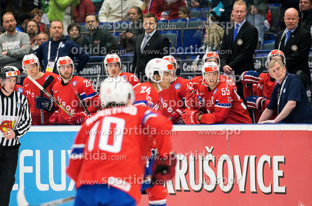 Players of Norway and Roy Johansen, head coach of Norway (C) during Ice Hockey match between Russia and Norway at Day 1 in Group B of 2015 IIHF World Championship, on May 1, 2015 in CEZ Arena, Ostrava, Czech Republic. Photo by Vid Ponikvar / Sportida