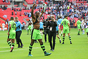 Forest Green Rovers Shamir Mullings(18) celebrates at the final whistle during the Vanarama National League Play Off Final match between Tranmere Rovers and Forest Green Rovers at Wembley Stadium, London, England on 14 May 2017. Photo by Shane Healey.
