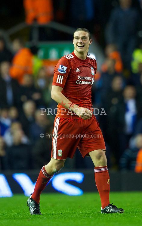 LIVERPOOL, ENGLAND - Monday, April 11, 2011: Liverpool's Andy Carroll celebrates scoring his second, his side's third goal against Manchester City during the Premiership match at Anfield. (Photo by David Rawcliffe/Propaganda)