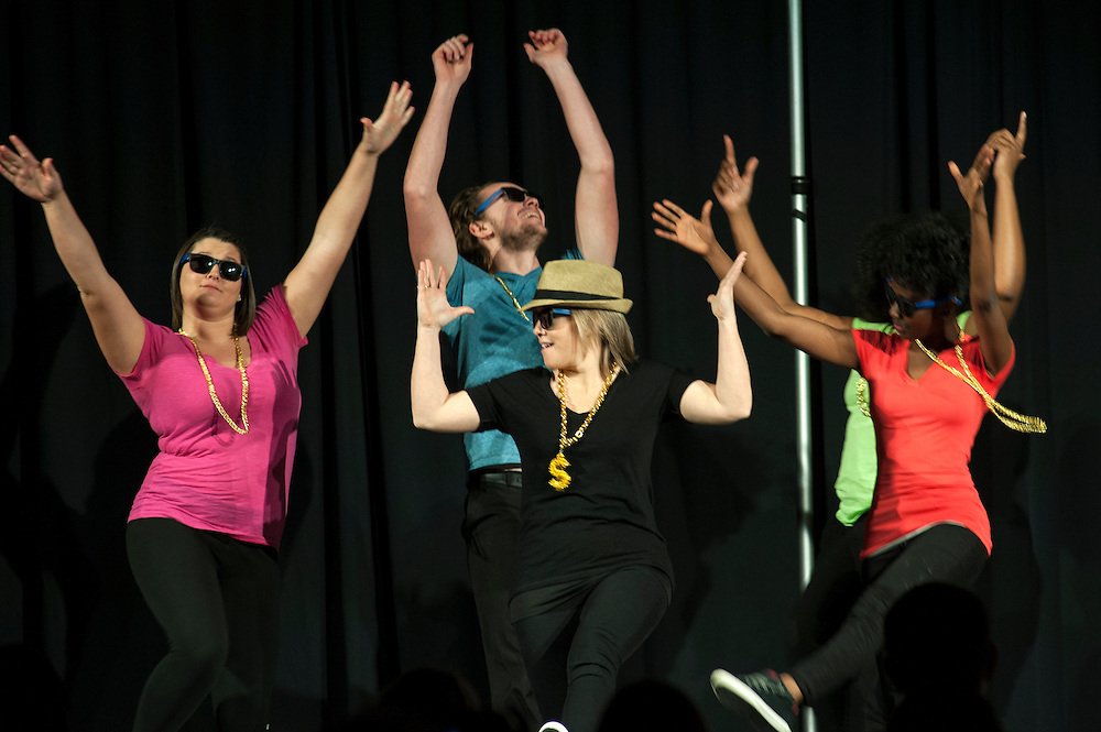 "Annie Frisoli, a lecturer in the Patton College of Education, dances to ""Uptown Funk"" by Bruno Mars with her students during the Ava Nichols Faculty Pageant on Wednesday, February 25. The pageant was held in Baker Center Ballroom to benefit Camp Quality Ohio, which provides a summer camp for children with cancer."