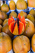 Papaya at Benito Juarez market in Oaxaca, Mexico.