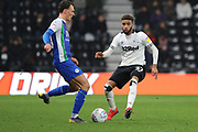 Derby County defender Jayden Bogle challenges during the EFL Sky Bet Championship match between Derby County and Wigan Athletic at the Pride Park, Derby, England on 5 March 2019.