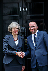 © Licensed to London News Pictures. 22/11/2016. London, UK. Prime Minister THERESA MAY welcomes Belgium Prime Minister CHARLES MICHEL in Downing Street on Tuesday, 22 November 2016. Photo credit: Tolga Akmen/LNP