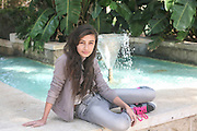 Young girl of 12 relaxing outdoors Photographed at Gan Hamoshava, Rishon Lezion, Israel