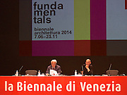 "Venice, Italy. 14th Architecture Biennale 2014, ""fundamentals"".<br /> Press conference with Biennale President Paolo Baratta (l.) and Director Rem Koolhaas."