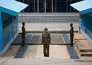 North Korean soldiers in the joint security area, Dmz, Panmunjom, North Korea.
