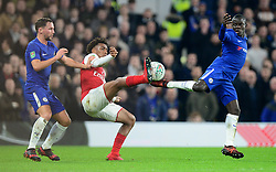 Ngolo Kante of Chelsea battles for the ball with Alex Iwobi of Arsenal - Mandatory by-line: Alex James/JMP - 10/01/2018 - FOOTBALL - Stamford Bridge - London, England - Chelsea v Arsenal - Carabao Cup semi-final first leg