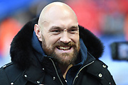 World heavyweight champion Tyson Fury during the International Series match between Los Angeles Rams and Cincinnati Bengals at Wembley Stadium, London, England on 27 October 2019.
