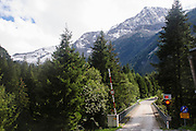 Austria, The one way Entrance to the Zillertal High Alpine nature Park Hochgebirgs Naturpark near Ginzling, Tyrol
