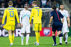 Miso Brecko (SLO) and Andriy Yarmolenko (UKR) during the UEFA EURO 2016 Play-off for Final Tournament, Second leg between Slovenia and Ukraine, on November 17, 2015 in Stadium Ljudski vrt, Maribor, Slovenia. Photo by Urban Urbanc / Sportida