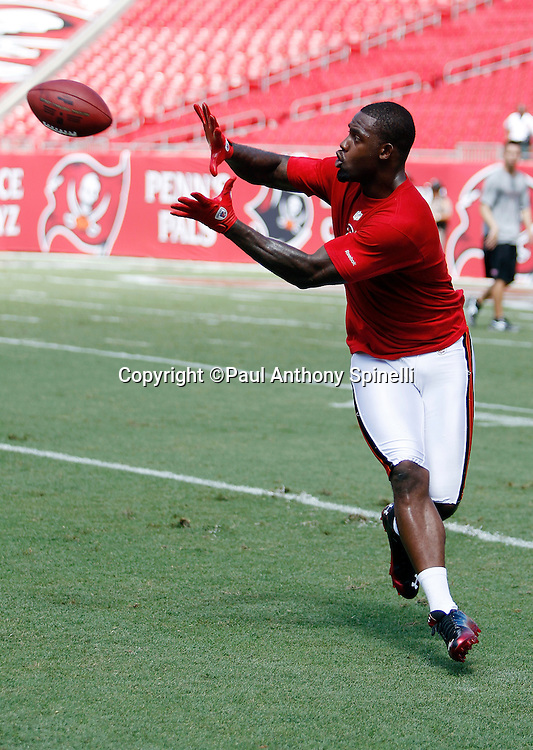 Tampa Bay Buccaneers wide receiver Arrelious Benn (17) catches a sideline pass while wearing workout clothes during the game against the Detroit Lions at the NFL week 1 football game on Sunday, September 11, 2011 in Tampa, Florida. The Lions won the game 27-20. ©Paul Anthony Spinelli