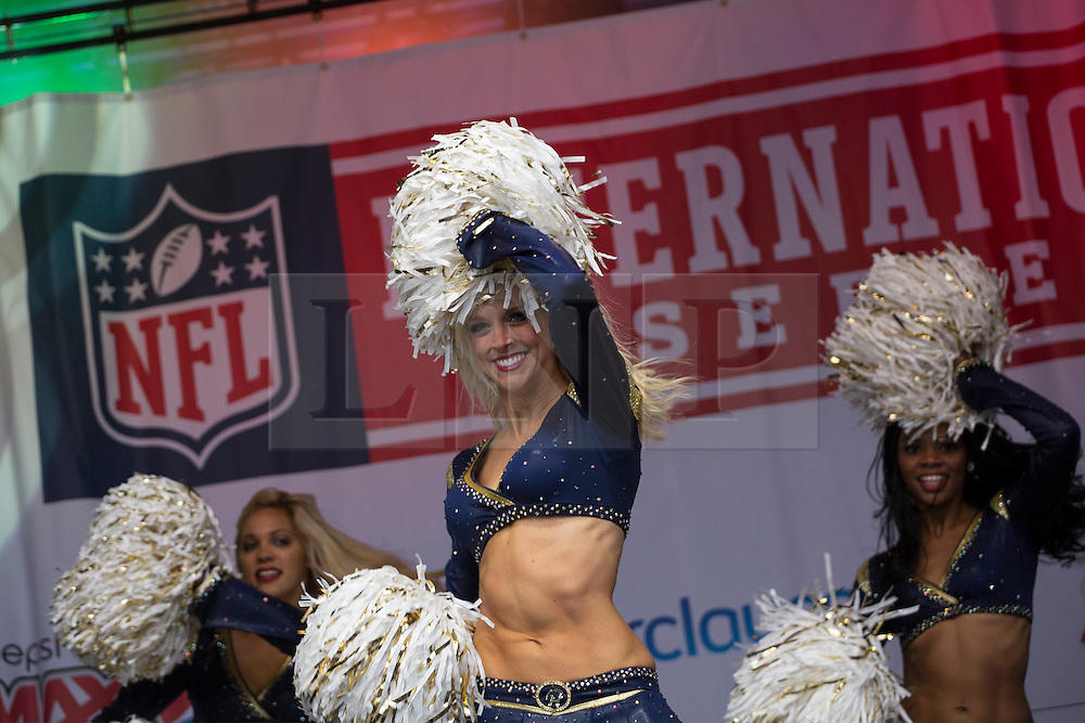 © licensed to London News Pictures. London, UK 27/10/2012. St Louis Rams Cheerleaders performing in Trafalgar Square ahead of this weekend's NFL games at Wembley Stadium between the New England Patriots and the St Louis Rams. Photo credit: Tolga Akmen/LNP