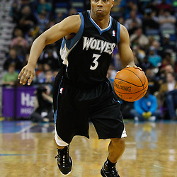February 7, 2011; New Orleans, LA, USA; Minnesota Timberwolves point guard Sebastian Telfair (3) against the New Orleans Hornets during the third quarter at the New Orleans Arena. The Timberwolves defeated the Hornets 104-92.  Mandatory Credit: Derick E. Hingle