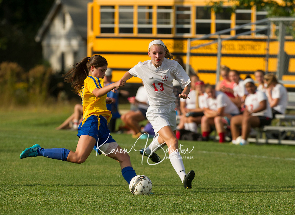 Laconia High School girls soccer with Kearsarge at Robbie Mills Field in Laconia.  Karen Bobotas for the Laconia Daily Sun