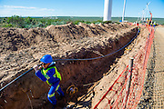 Laying the electric cable from the turbine to the substation