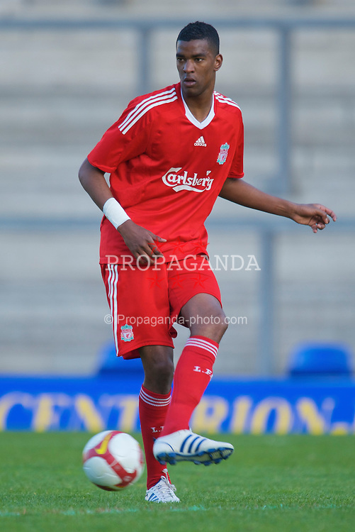 WARRINGTON, ENGLAND - Wednesday, April 29, 2009: Liverpool's Damien Plessis in action against Newcastle United during the FA Premiership Reserves League (Northern Division) match at the Halliwell Jones Stadium. (Photo by David Rawcliffe/Propaganda)