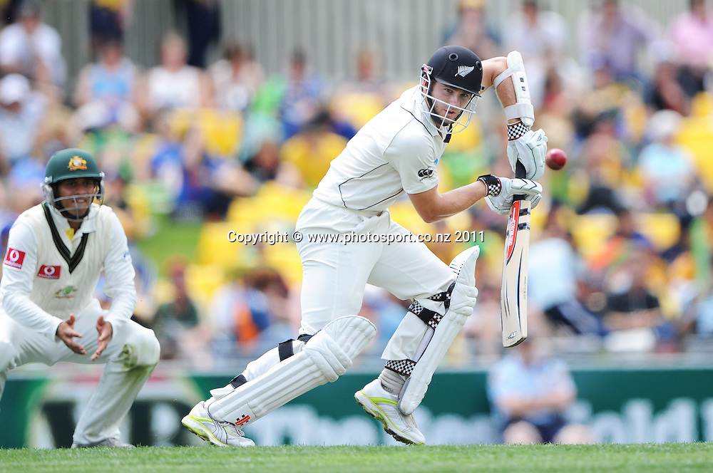 Kane Williamson batting on Day 1 of the second cricket test between Australia and New Zealand Black Caps at Bellerive Oval in Hobart, Friday 9 December 2011. Photo: Andrew Cornaga/Photosport.co.nz