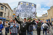 Juventus fans with flag before the Champions League Final between Juventus and Real Madrid at the National Stadium of Wales, Cardiff, Wales on 3 June 2017. Photo by Phil Duncan.