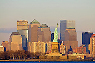 New York City Skyline Wall Street and Statue of Liberty